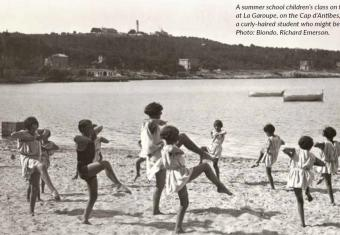 Summer School Children's Class on the beach at La Garoupe, taken by a curly haired student who might be Helene.